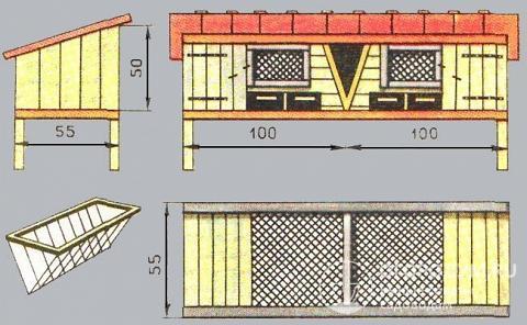 Стандартная конструкция индивидуального двухсекционного жилища для кроликов