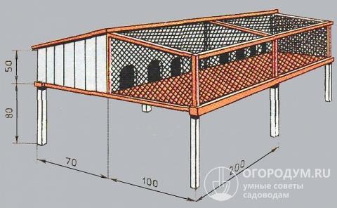 Конструкция для размещения молодняка с площадкой для выгула